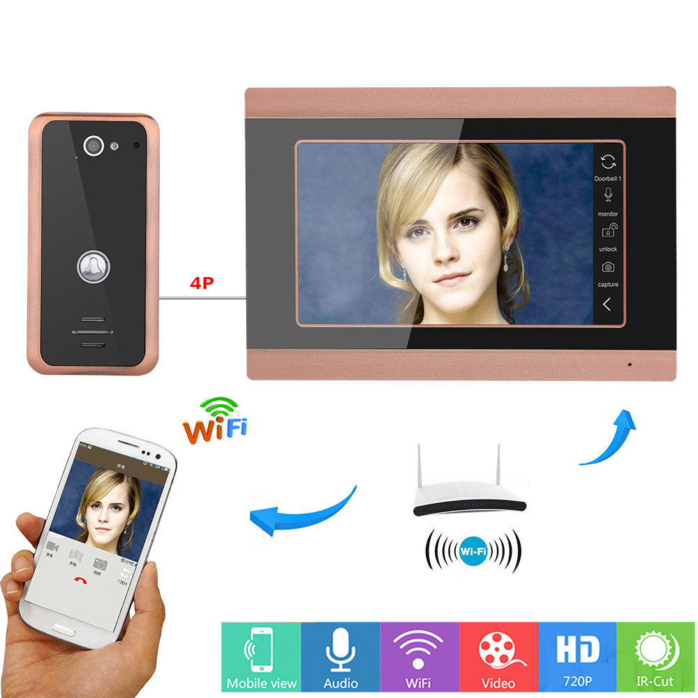 MAOTEWANG 7inch Wired Wifi  Video Door Phone Doorbell Intercom Entry System With  HD 1000TVL Wired Camera Picture Records