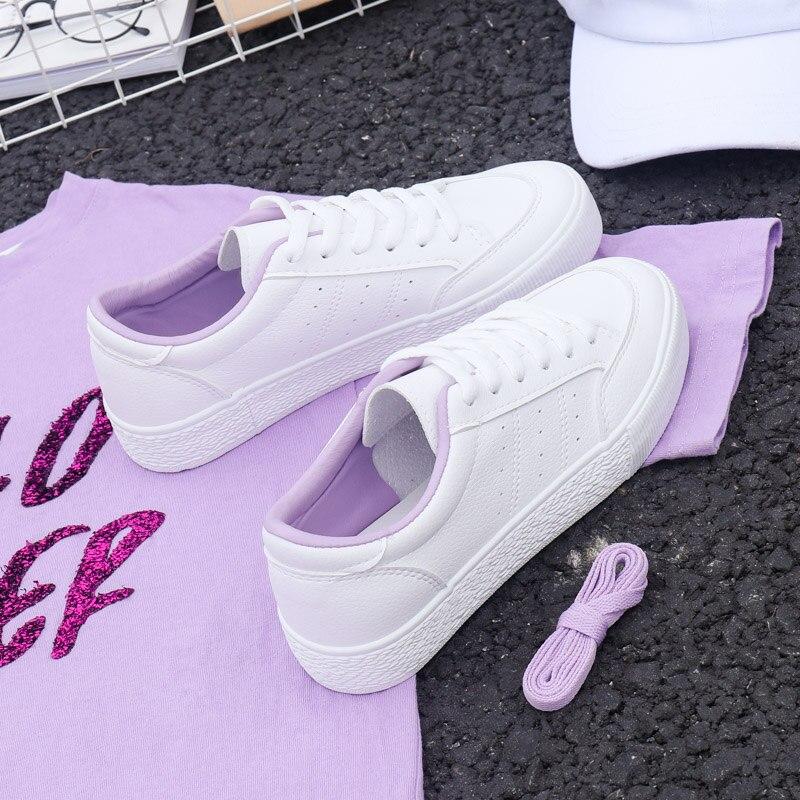 2018 Herbst Neue Mode Schuhe Frau Casual Frische Lila Einfarbig Pu Leder Schuhe Frauen Casual Weiß Schuhe Turnschuhe