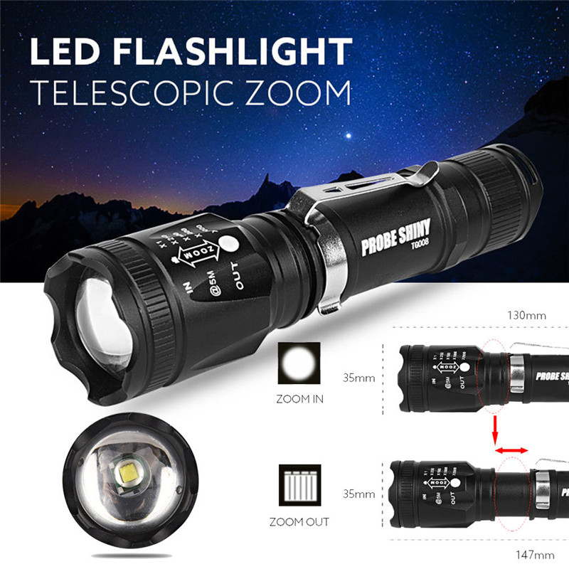 Bicycle light With 18650 <font><b>Battery</b></font>+Charger+<font><b>Case</b></font> Cycling <font><b>Bike</b></font> Head Front Light 2017 Zoomable LED Tactical Flashlight #3