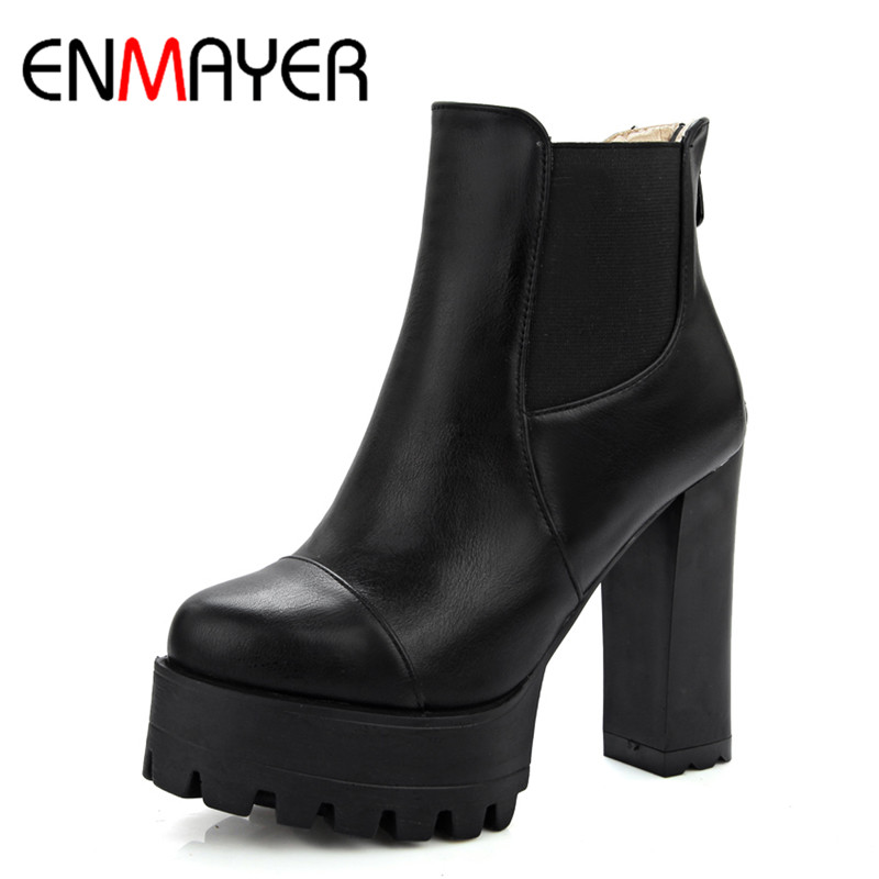 ENMAYER New Fashion Style Winter Ankle Boots for Women Zippers Round Toe Solid Square High Heels Women Shoes Clasic Black Shoes enmayer green vintage knight boots for women new big size round toe flock knee high boots square heel fashion winter motorcycle