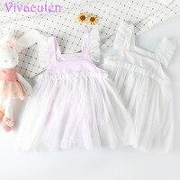 Blanco lindo princesa bebé vestido de algodón manga de la colmena del bautizo del vestido para niña fiesta de cumpleaños vestidos del mameluco