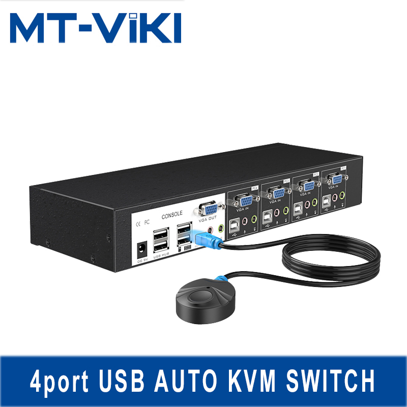 MT VIKI VGA kvm переключатель 4 Порты и разъёмы USB2.0 с аудио стерео sup Порты и разъёмы внешних устройств USB с профессиональным KVM кабель MT 0401VK