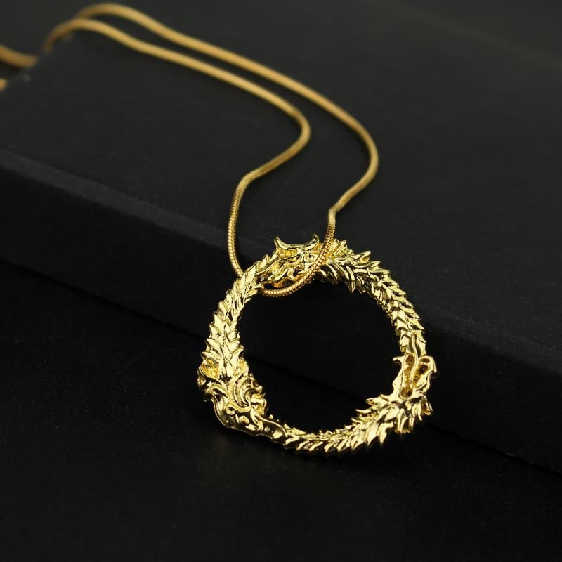 Módní Jewrly Dragon Skyrim Elder Scrolls Zlatý náhrdelník Tritium Neclace Muži Náhrdelníky Ženy Beachy Náhrdelníky pro fanoušky-30