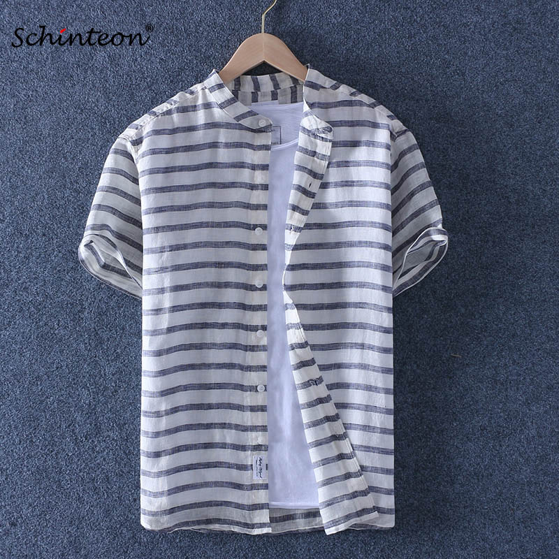 Schinteon 100% Pure Linen Striped Summer Shirt Men Breathable Stand Collar Short Sleeved Casual Shirt Comfortable New 2019