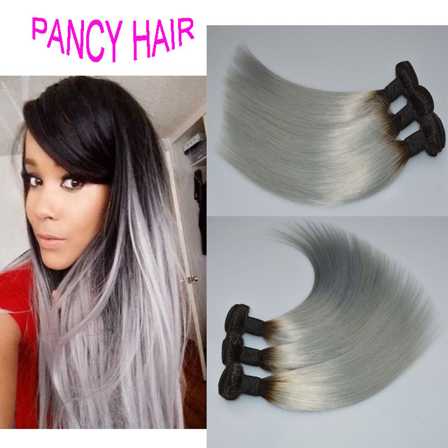 Silver Hair Extensions Ombre Grey Hair Weave Color Two Tone Human
