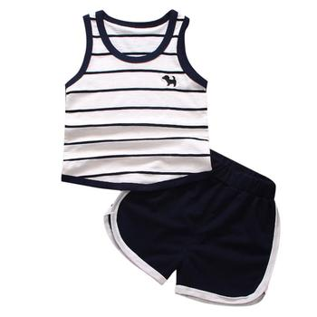 Cherry Pills #3004 2018 Summer Baby clothes for Girls Boys Striped Dog Vest Tops Shorts fashion sports suit childrens set