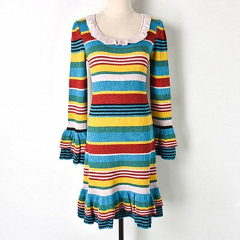 2018 New Contrast Color Striped Gold Lace Ruffled Knit Skirt Knit Ruffled Sleeve Dress Round Neck Fashion High Waist Slim цена 2017