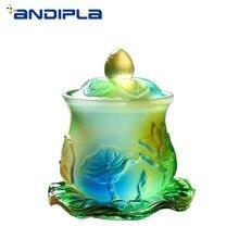 Цветные стеклянные бутылки для святой воды Буддийские принадлежности Lucky фэн-шуй украшения дома аксессуары лотоса Святой стакан для воды благоприятный