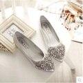 2016 весна luxury brand острым носом квартир женщин обувь кожаная обувь горный хрусталь sexy party свадебные туфли на плоской подошве женщина