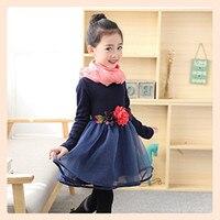 Autumn Winter Baby Girls Dresses Warm Party Thicken Flower Children Girls Birthday Princess Dress Casual Evening