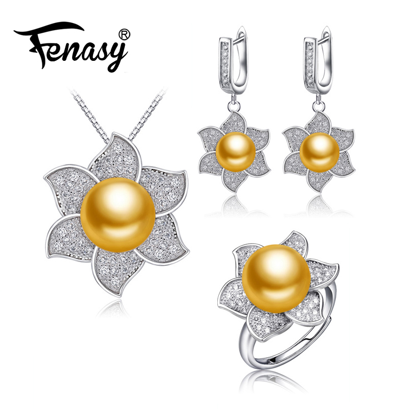 FENASY natural freshwater Pearl Jewelry sets pearl necklace for Women Pearl Necklace/big flower clip earrings wedding jewelry a suit of chic fake pearl rhinestone hollow out flower necklace and earrings for women page 6