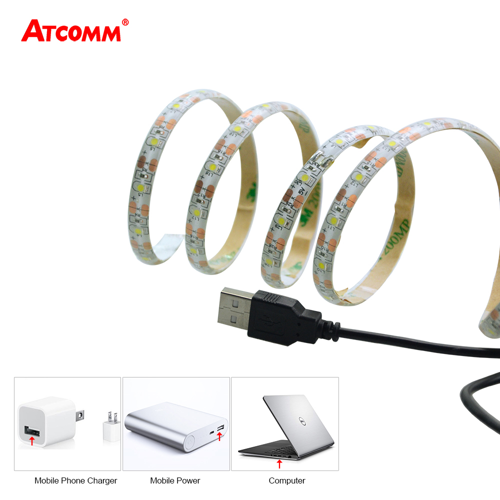 5V USB LED Strip Light Tape Lamp 1 Meter IP65 Waterproof 60 LEDs Flexible High Lumen LED Diode Ribbon Warm White Cool White usb high brightness flexible white light led clip lamp silver white
