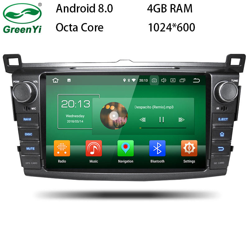 цена на GreenYi Android 8.0 8 Core 4G RAM Car DVD GPS For Toyota RAV4 RAV 4 2013 2014 2015 WIFI Autoradio Multimedia Stereo