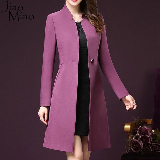 Jiao Miao Femme Plus Tamaño 4xl Otoño Invierno Informal Cálido Abrigo de Manga Larga Cazadora Brand Classic Trench Coat Para Las Mujeres