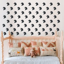 64 pcs Cartoon Unicorn Star Wall Stickers for Kids Rooms Baby Girls Bedroom Decor Animal on the Decal 10-005