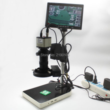 """Buy 1/3 """"CCD 800TVL  Digital Industry Microscope Camera+130X C-Mount Lens BNC Color Video Output+Stand+Lights+7-inch HD Monitor"""