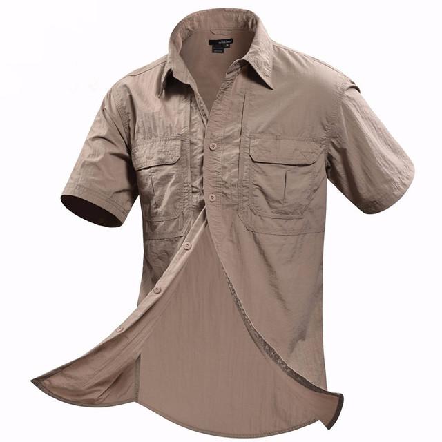 Fora da porta de verão Homens Camisa Militar Dos Homens Cardigan de Manga Curta Casual tops Roupas Quick dry Respirável camisas Marca masculina Sociais
