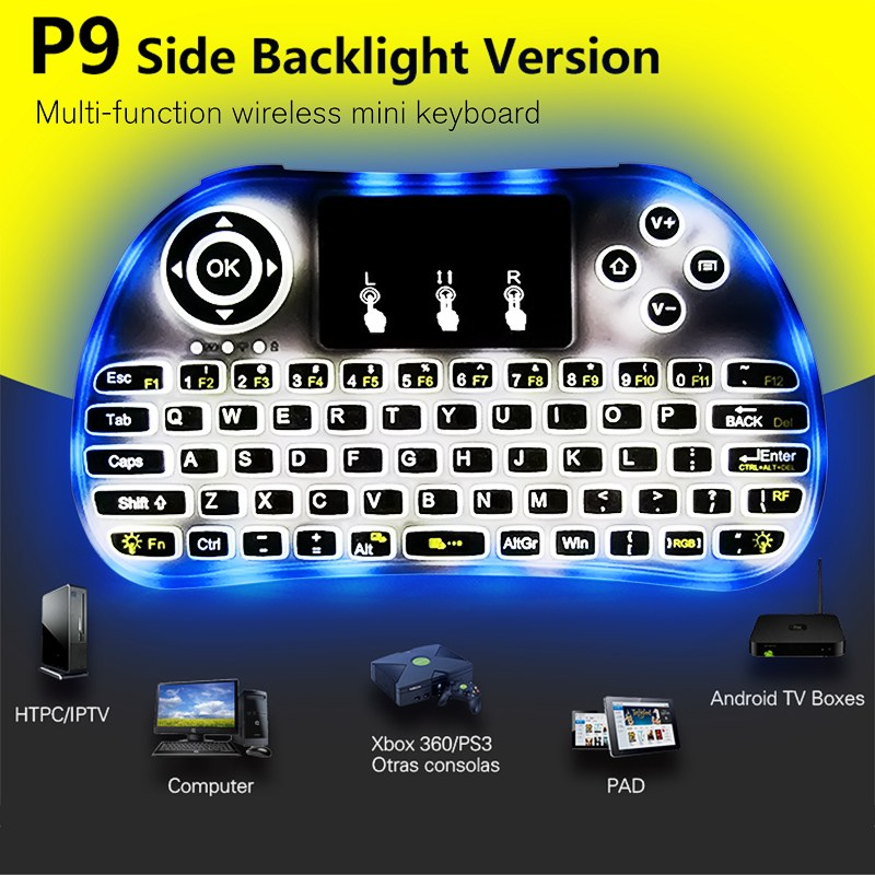 Wireless 7 Colors Backlight Mini Keyboard Side Backlit 2.4GHz USB Air Mouse Touchpad Remote Control For Android TV Box Laptop
