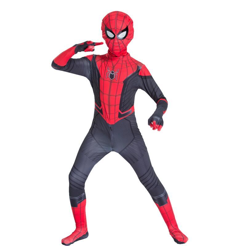 2019 Men Kids Spider Man Far From Home Peter Parker Cosplay Costume Zentai Spiderman Superhero Bodysuit Suit Jumpsuit Halloween