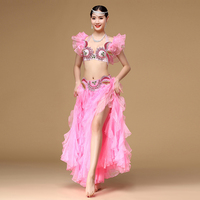 New Oriental Belly Dancing 2pcs Outfit Set ( Bra and Skirt) Off Shoulder Women Egyptian Belly Dance Costumes Princess Costume