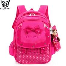 Baijiawei mode schmetterling mädchen schultaschen kinder rucksack grundschüler bookbag orthopädische prinzessin schulranzen mochila infantil