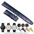 Crocodile Alligator Uhrenarmbänder für IWC Portugues Pilot Echtes Leder Uhrenarmband Armband Strap Mann 20mm 22mm Braun Schwarz blau