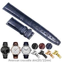Bracelets Crocodile en cuir véritable pour IWC, 20mm, 22mm, marron, noir, bleu