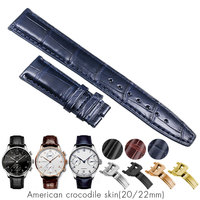 Crocodile Alligator Watchbands for IWC Portugues Pilot Genuine Leather Watch Band Bracelet Strap Man 20mm 22mm Brown Black Blue