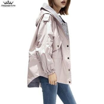 tnlnzhyn 2019 New Spring Autumn Women Trench Coat Loose Hooded Women Windbreaker Outerwear Casual Long Sleeve Coats Y1046