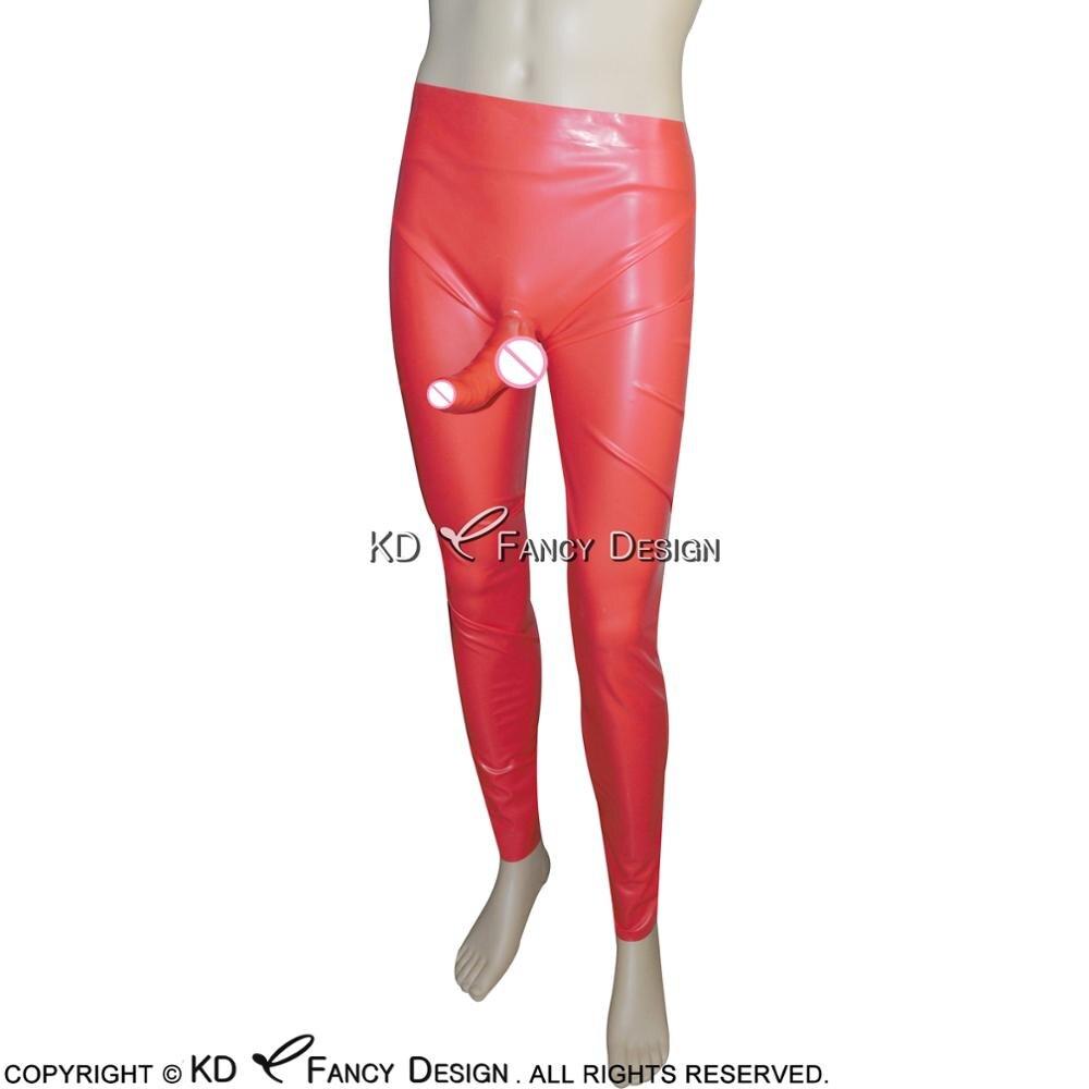 Long pantalon Latex noir avec gaine anatomique pénis pantalon caoutchouc pantalon CK-0013 - 4
