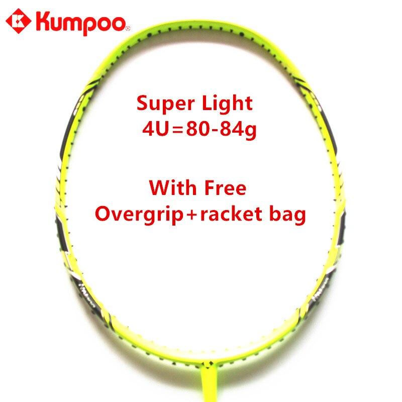 Kumpoo Pas Cher Badminton Raquette Super Lumière 4U 80-84g Pleine Balle De Carbone Contrôle Raquette avec Cadeaux de Haute Qualité 5 couleurs L810OLB