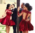 Vestidos Dark Red Short Prom Dress High Neck Lace Homecoming Dress See Through Long Sleeves Graduation Dress Party Gowns t1