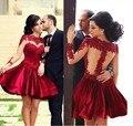 Vestidos oscuro corto rojo vestido de fiesta cuello alto de encaje gasa vestido de opacidad de manga larga vestido de partido de graduación Vestidos t1