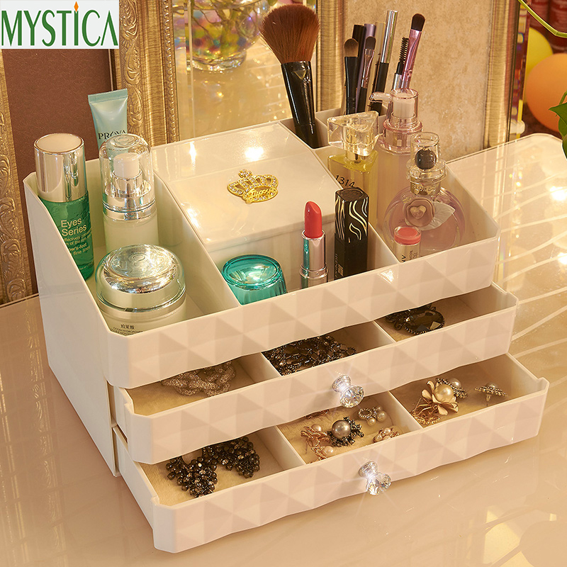 NY MYSTICA ABS Tre lag Plastic Makeup Skuffer Opbevaringskasse Smykker Container Make Up Organizer Case Kosmetiske Office Boxes