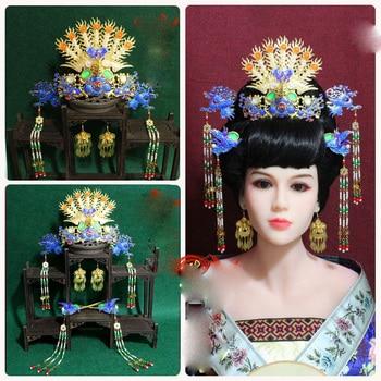 A320 Immortal Crane Blue Cloisonne Phoenix Tiara Traditional Chinese Bride Wedding Tiara Princess Hair Accessory Photography