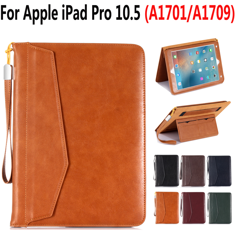 цена на Luxury Leather Cover Case for Apple iPad Pro 10.5 A1701 A1709 Folio Stand Smart Cover Auto Wake Sleep Case for iPad Pro 10.5