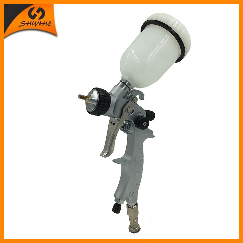 цена на SAT1216-M mini air spray gun hvlp automatic paint gun air pressure spray gun dual action airbrush pneumatic base coating sprayer