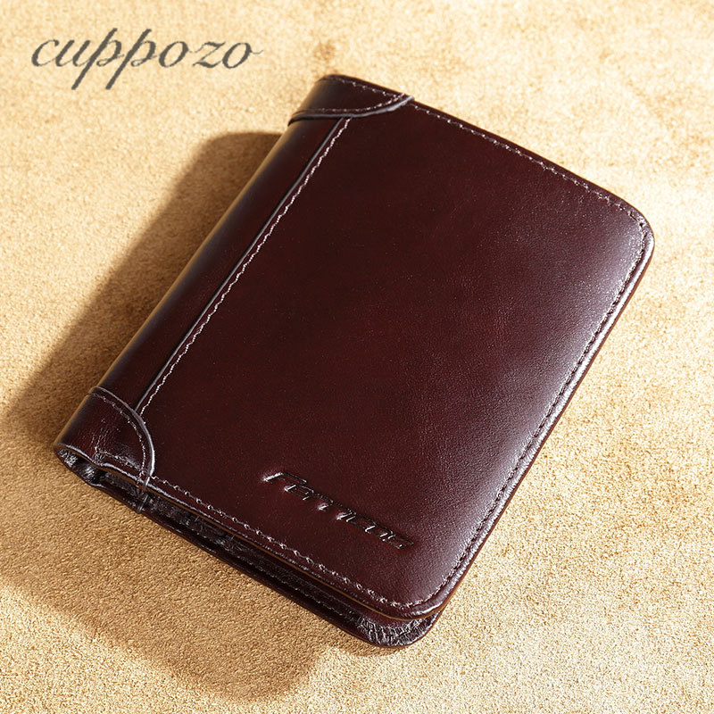 Cuppozo Wallet Men Genuine Leather Short Purse First Layer Of Leather Multi-Card Bit Wallet Retro Carteira Masculina