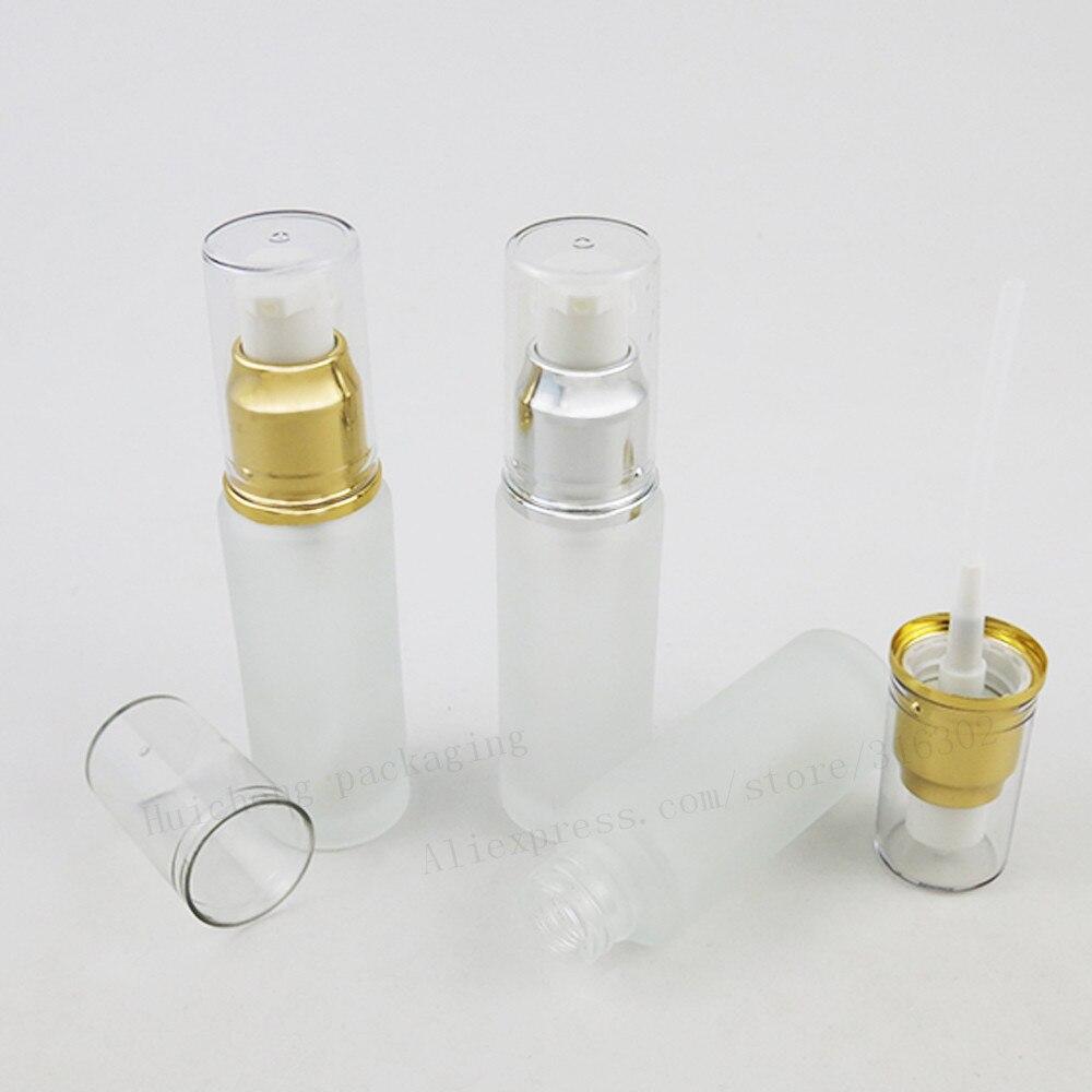 30ML Frost Glass Lotion Pump Bottle 1oz Aluminum Pump Glass Bottle 30cc Glass Container 200pcs