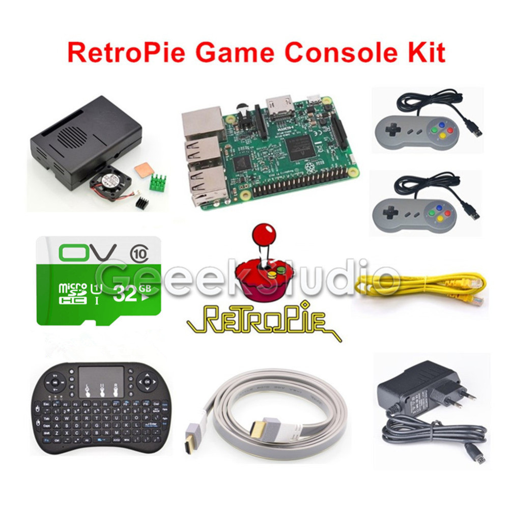 где купить Raspberry Pi 3 Model B 32GB RetroPie Game Console Kit with 2pcs SNES Controllers Gamepads Joypad Joystick дешево