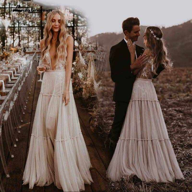 Boho Hippie Wedding Dress 10 Sleeveless V Neck Chic Styl Whimsical Ruched  Skirt Tulle Bridal Gowns Robe de mariee