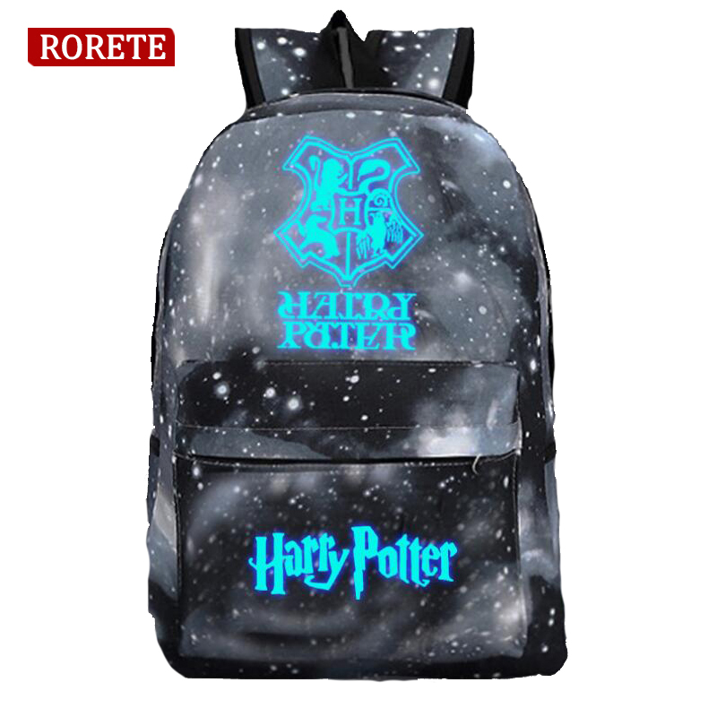 Harry Potter Luminous backpack Children School Backpacks For Teenager Printing canvas School Bags Mochila Rucksack 12 color