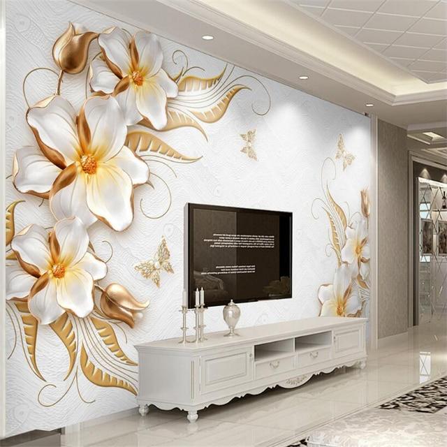 Beibehang Kustom Wallpaper Ruang Tamu R Tidur Mural Emas Tingkat Tinggi Relief Berlian Bunga Perhiasan