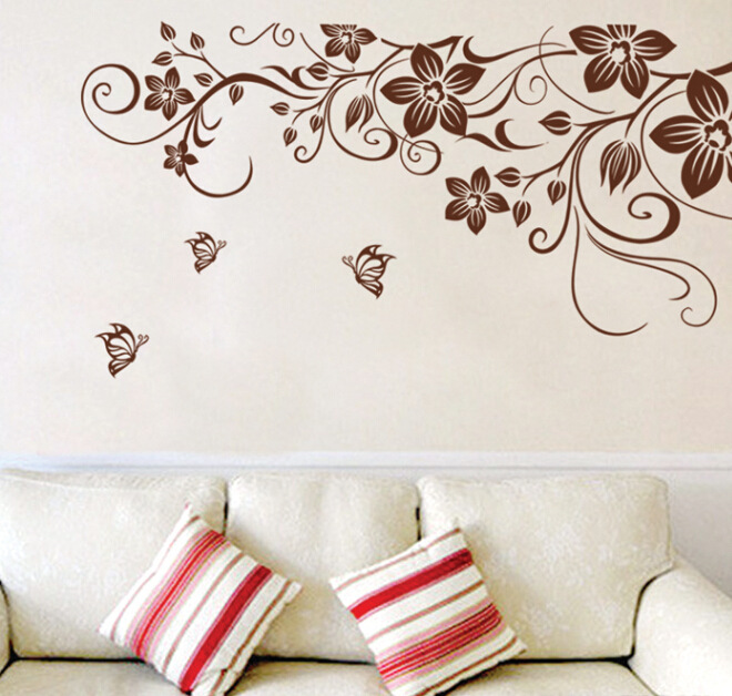 Brown flower vine DIY Vinyl Wall Stickers Home Decor Art Decals 3D Wallpaper Bedroom Sofa house decoration adesivo de parede in Wall Stickers from Home Garden