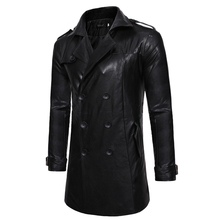 New Men PU Blends Suit Design Leather Coat Men Casual Trench Coat Design Slim Fit Office Suit Jackets Coat Drop Shipping cheap Zeeshant Full Long Smart Casual Turn-down Collar Solid Double Breasted STANDARD Synthetic Leather Pockets REGULAR Broadcloth