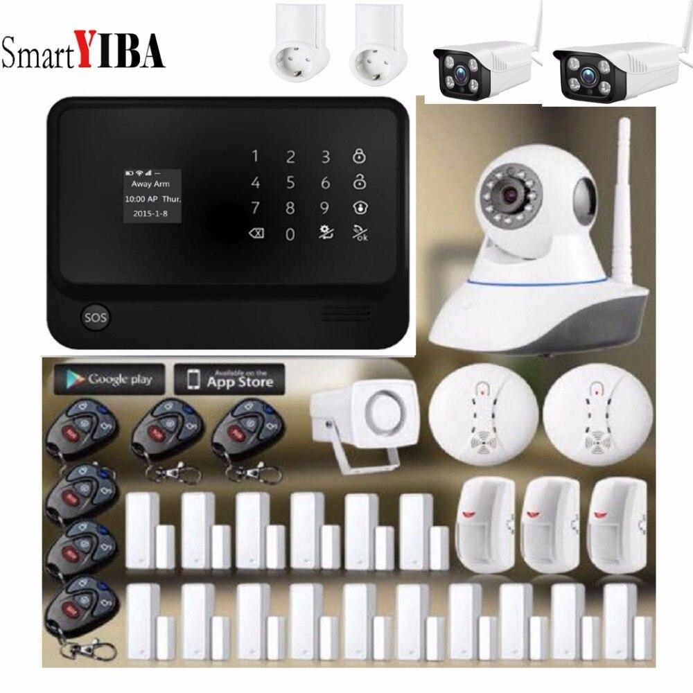 SmartYIBA APP Control WiFi GSM GPRS Home Burglar Alarm House Surveillance Security System Video IP Camera Smoke Fire Sensor