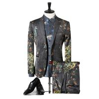 2017 new arrival seasons high quality European and American high end fashion print men suits two pieces suits (Jacket and Pants)