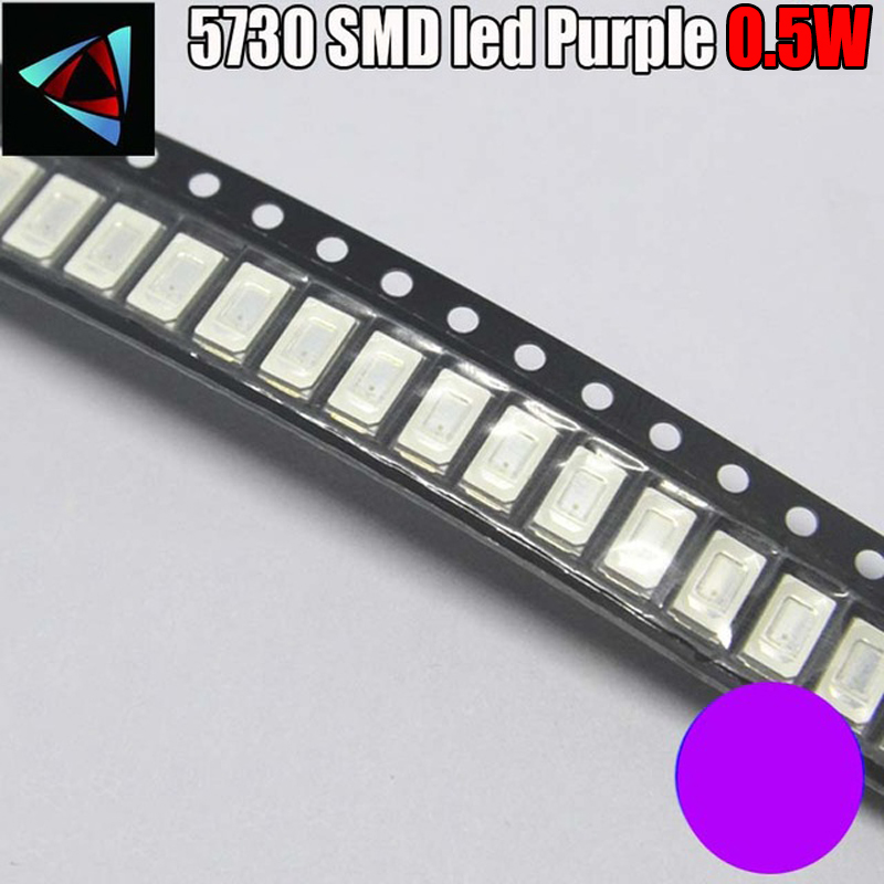 100pcs SMD Chip 5730 5630 0.5W Purple UV LED Surface Mount SMT Ultraviolet 395nm - 400nm Super Bright Light Emitting Diode LED image