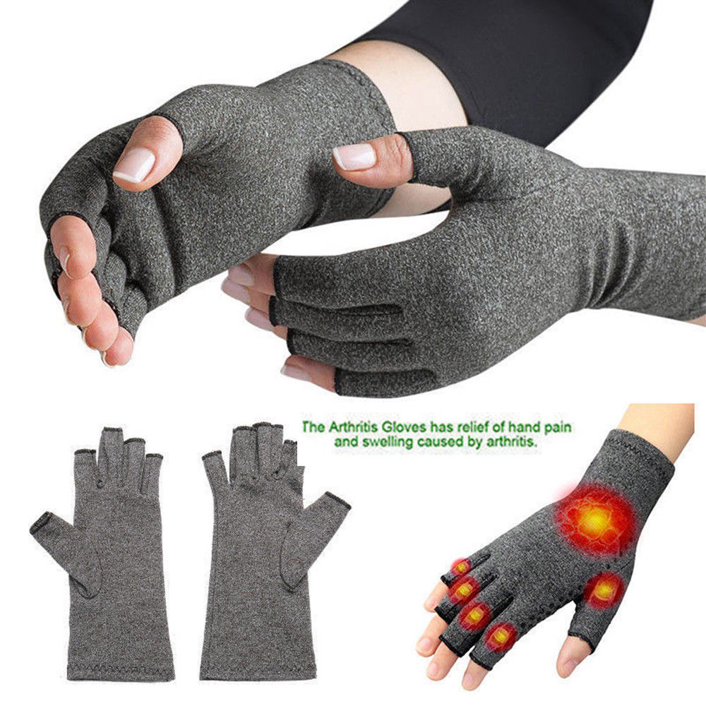 A Pair Copper Compression Gloves Hand Fingers Arthritis Joint Pain Carpal Brace Gloves