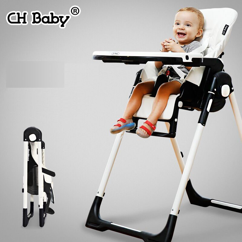 CH Baby Multifunctional Baby PU Feed Highchair Fold Portable Baby Feed Chair Washable Child Feed Seat For 0-4years Old